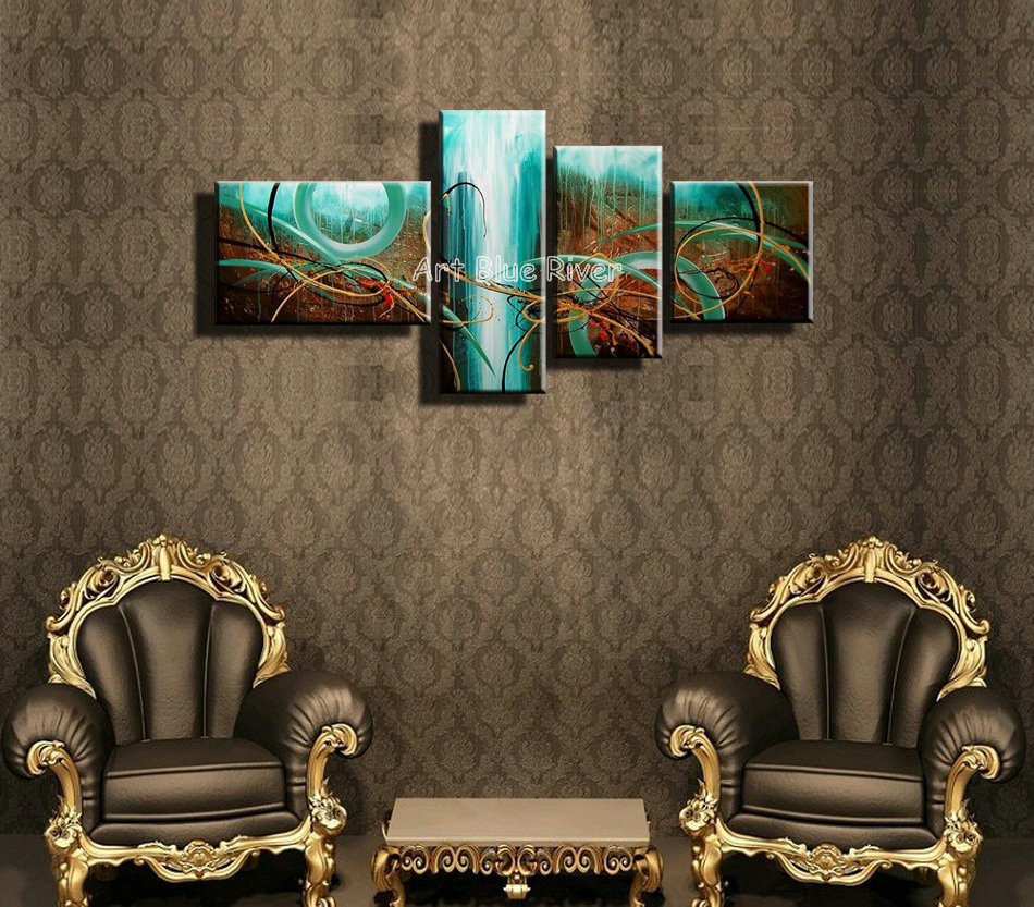 buy 4 piece blue colorful canvas wall art. Black Bedroom Furniture Sets. Home Design Ideas
