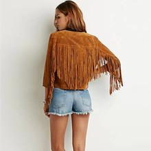 2016 Fashion Fringed jacket Leather Cardigan Jacket Women Slim Thin Long Sleeve Outwear Coat Jaqueta Feminina HB029