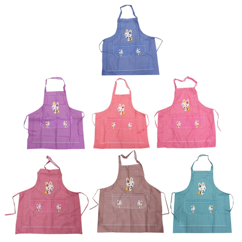 Beautiful Design Restaurant Kitchen Cooking Work Bib Rabbit Grid Pocket Cartoon Apron Dress Kitchen Aprons 7 Colors(China (Mainland))