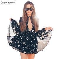 BeAvant Sexy star print chiffon summer dress women 2016 new deep v neck long sleeve short dresses Fashion party dress vestidos