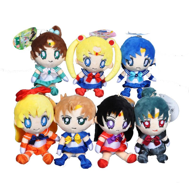 Sailor Moon plush toy Mars Jupiter Venus Mercury Uranus Pluto stuffed doll Toy Cartoon Japanese Anime Sailor Moon kids toy 7pcs(China (Mainland))