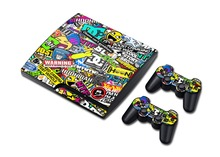 Fast delivery NEW Bombing  Vinyl Skin Sticker Protector for Sony PS3 Slim PlayStation 3 Slim and 2 controller skins Stickers