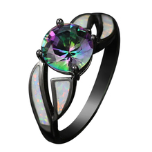 Buy Black Gun Plated Rainbow Cubic Zirconia Fire Opal Rings women Hot Sale Fashion Jewelry Unique Party Cocktail Ring R177 for $5.75 in AliExpress store