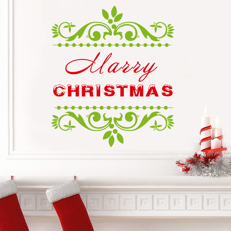 Happy christmas xmas wall sticker shop window vinyl decal for Christmas wall mural plastic