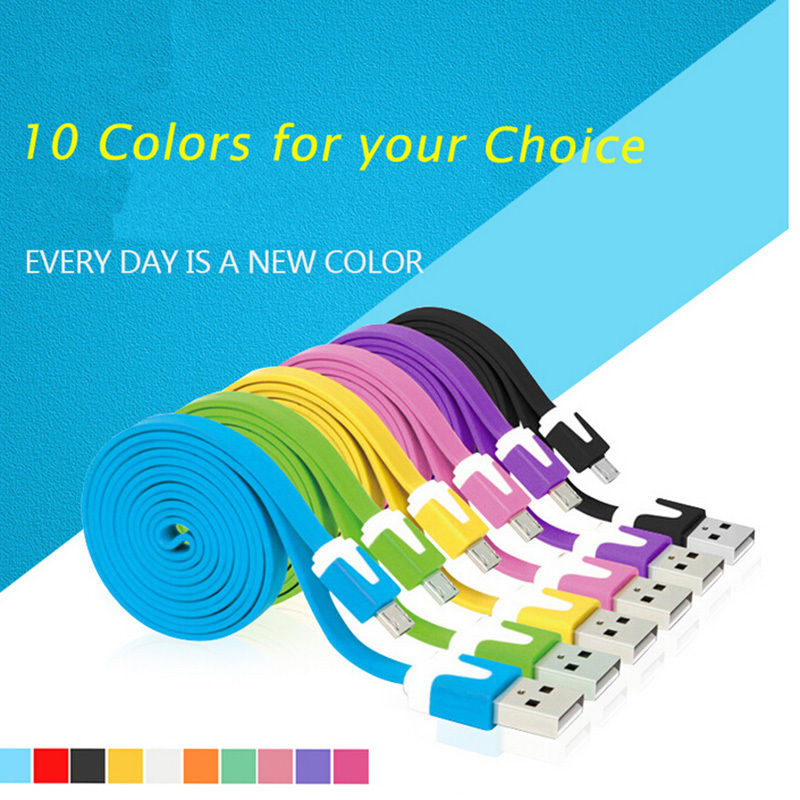 Hot sale 10 Colors Colorful1M/3FT 2M /6FT Long Flat Micro USB Data Sync Charging Cable Cord for Samsung Galaxy S2 S3 S4 I9500(China (Mainland))
