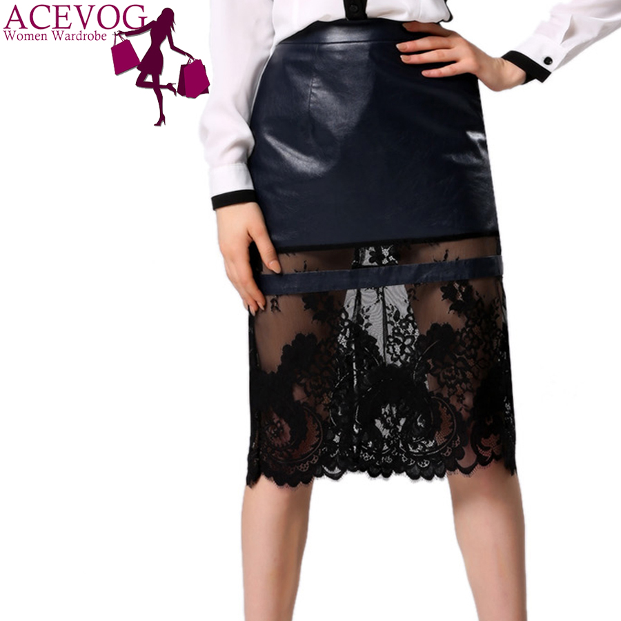 ACEVOG Brand Women Ladies Elegant Casual Knee Length Patchwork Synthetic Leather and Lace Midi Pencil Skirt(China (Mainland))
