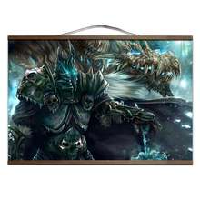 World of WarcraftS With solid wood hanging shaft Lich King Illidancanvas prints posters decoration painting for HD no frame(China)