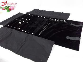 Portable Black Velvet Jewelry Display Set Rolls Travel Organizer Bag Foldable For Earrings Ring Chain Pendant Necklace Storage