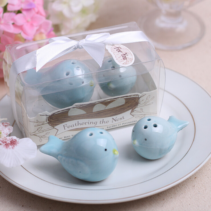 Free Shipping,40pcs=20set /lot Wedding Party Favor Cute Bird Mini Ceramic Salt And Pepper Shakers(China (Mainland))