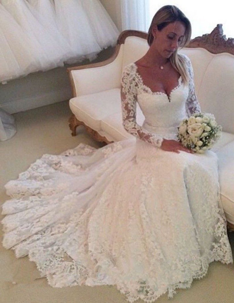 Sexy low back wedding dress white mermaid long sleeve for Mermaid wedding dress with train