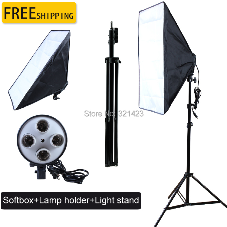 new photographic equipment Photo Studio kit Video Four-capped lamp Holder Lighting 50*70cm Softbox+200cm light stand photo box(China (Mainland))