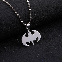 Fashion Silver chain Men Necklaces Jewelry Slippy Bat Batman Sign Pendant Stainless Steel Pendant with Chain