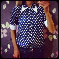 Women's Long-Sleeve Dot Shirt Female blouse Peter Pan Collar Blouse Shirts Full sleeve