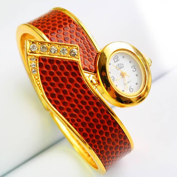 Стильный металлический шарнир змеиной кожи шаблон кварцевый механизм наручные браслет USS часы с стразами декор