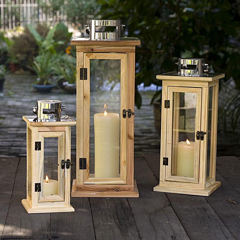 Fashion wool retro finishing wood metal windproof lamp for Wooden garden lanterns