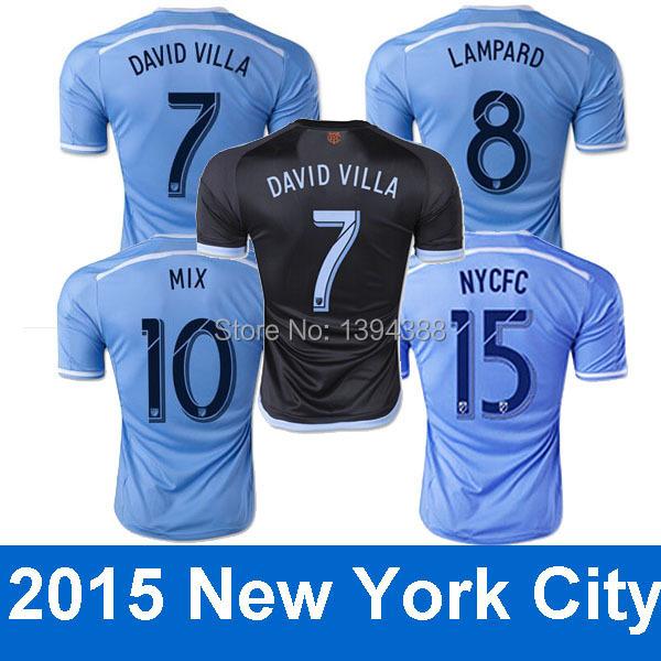 Thai quality 2015 New York city FC Soccer Jersey LAMPARD NYCFC 14/15 DAVID VILLA MIX Blue New York City FC Football Soccer Shirt(China (Mainland))