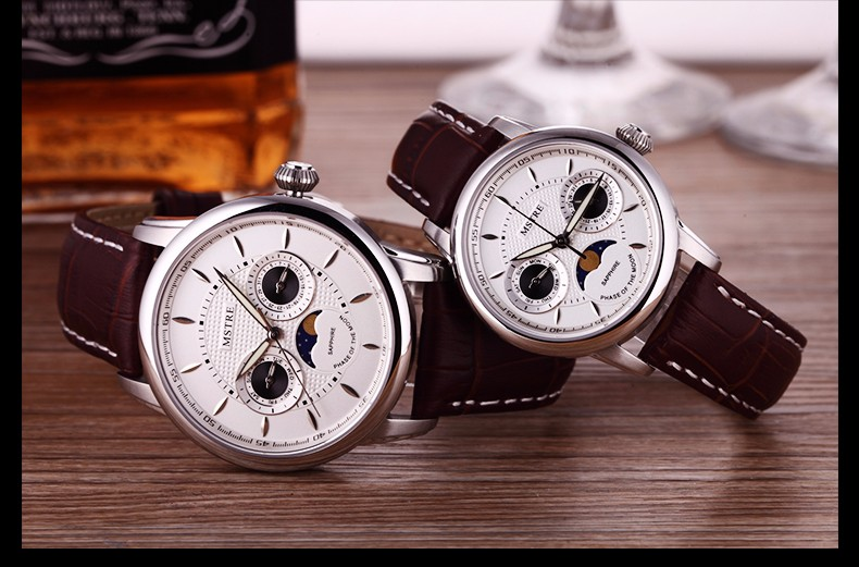 Brand MSTRE Men's Casual Business Watch Male Japan Quartz Wrist Watches Moon Phase Genuine Leather Strap Sapphire Dual Calendar