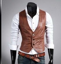 Free Shipping 2015 Hot Sale Fashion Brand High Quality Slim Men's Casual Leather Vest(China (Mainland))