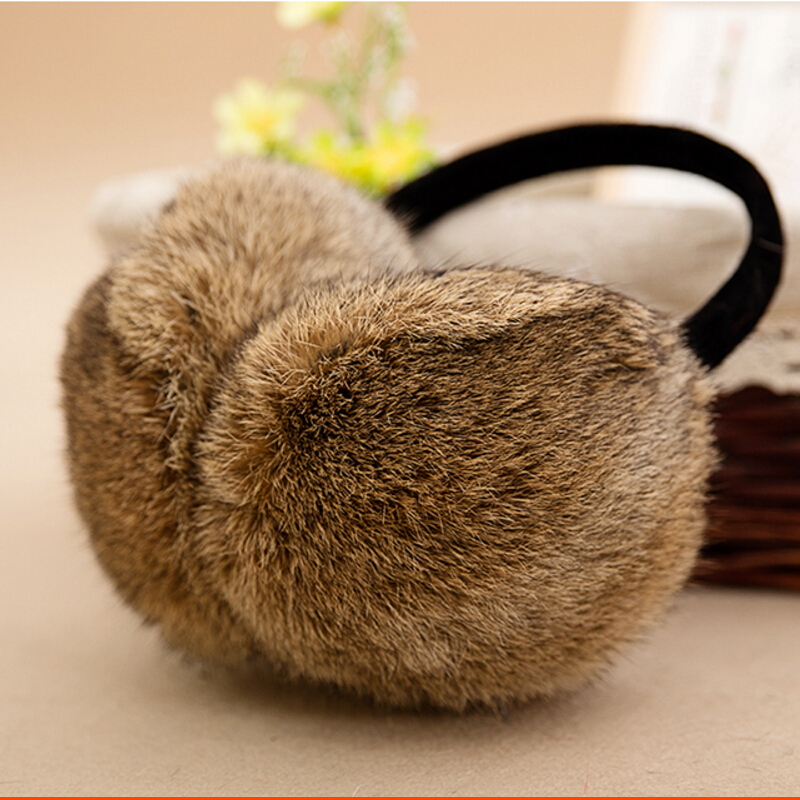 2016 New Arrival Genuine Rabbit Fur Earmuffs with Genuine Leather Ear Package Thermal Warm Ear Protector Real Fur(China (Mainland))