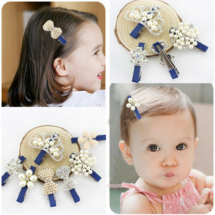 Cute Style Hair Accessory New Pattern Glitter Pearl Baby Accessories Girl Hollow Crown Hairpin Kids Barrette Tiara Bow Hair Clip(China (Mainland))