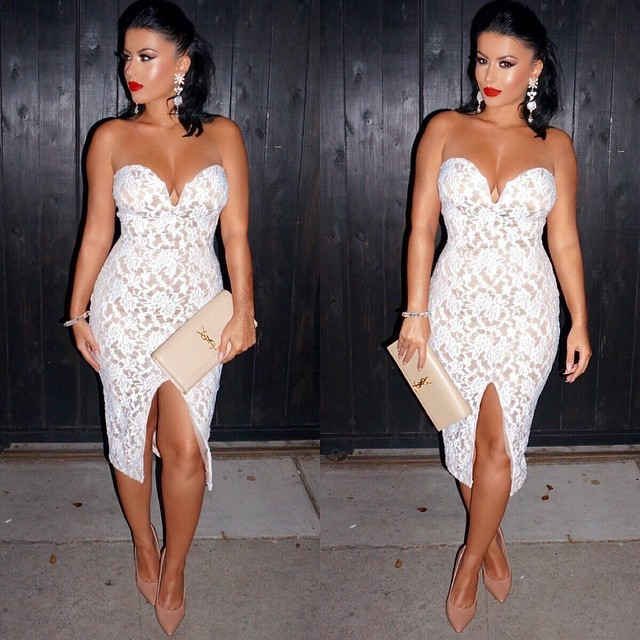 2015 Fashion Women Summer Bandage BodyCon Sleeveless Slim Vestidos Lace Party Cocktail Elegant White Dress - BALALA ONLINE SHOP store