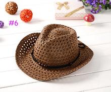 2015 NEW Summer Fashion Children Straw Hats Baby Jazz Hat Kids Cowboy Hat Visor Caps Sun Hat 10 colors(China (Mainland))