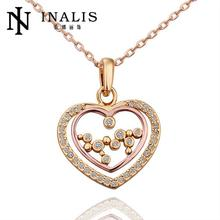 N576 Unique Chic Free Antiallergic 18K Real Gold Plated Couples' Heart Design Trendy Necklace  2015