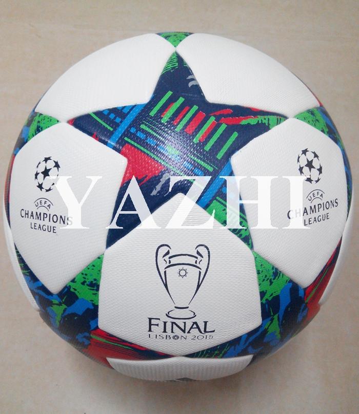 Hot Sale A++ 2015 Champions League Final Soccer Balls New Fashion PU Laminated Official Size 5 Football Top Match Training Ball(China (Mainland))