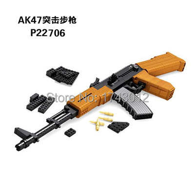 Scale AK47 3D Model Simulation Weapons hardcover Assault Rifle Gun Educational Assemblage Bricks Toys Children Adult