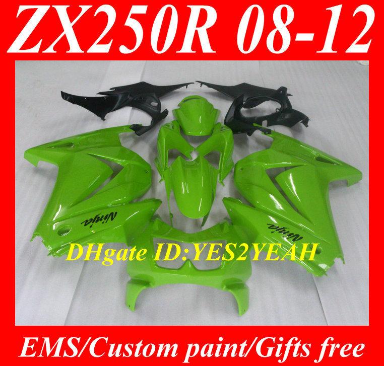 Injection Mould Fairing kit KAWASAKI Ninja ZX250R ZX-250R 2008 2012 ZX 250R EX250 08 09 10 11 12 Green Fairings bodywork - FAIRING KIT Co. Ltd store