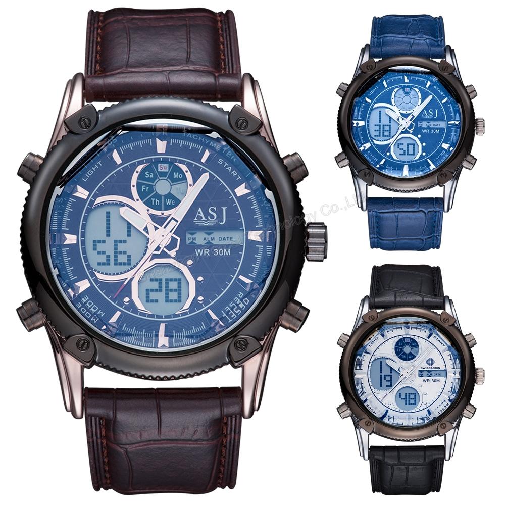 2015 Men Leather Strap Sport Watch Analog Digital Dual Time Zones Wrist Watches Chronograph Alarm Calendar Quartz Wristwatches(China (Mainland))
