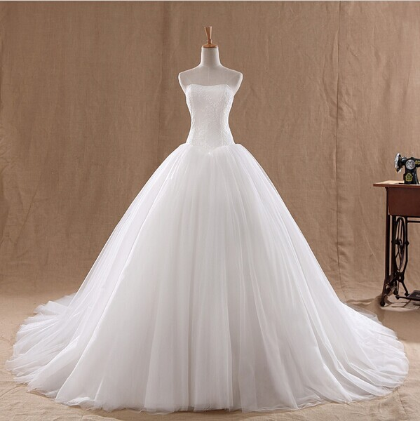 New arrival 2014 fashion celebrity strapless white ivory for Tulle and organza wedding dresses