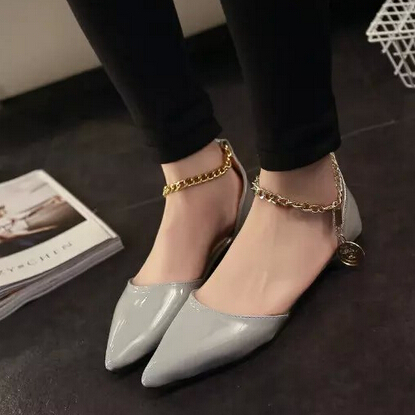 Women Flats Spring Women Shoes Patent Leather Pointed Toe Chains Shoes Woman Flats Single Casual Ballet Flats Women Sandals<br><br>Aliexpress