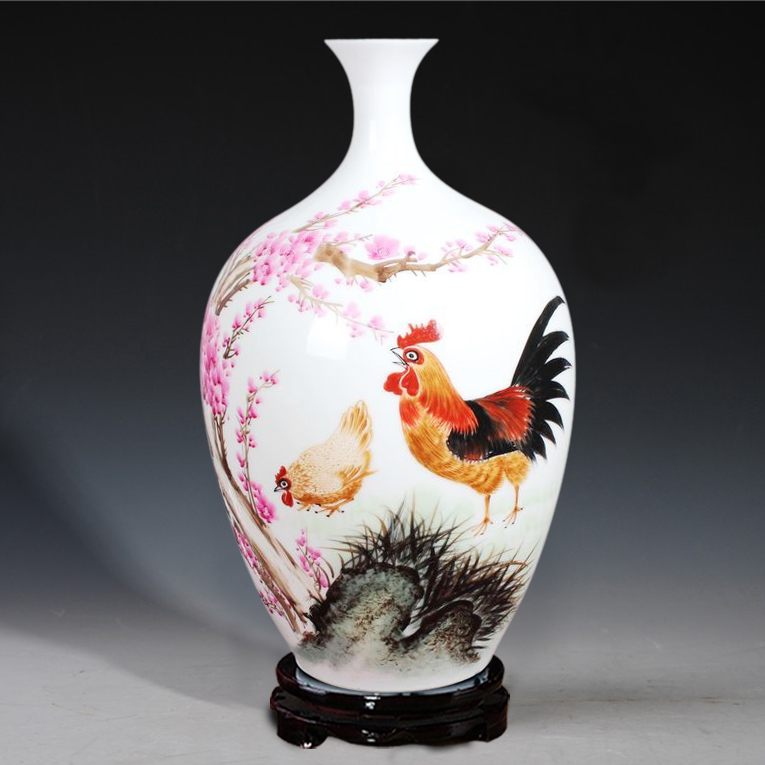 blue and white porcelain vase painted Rooster celebrity master Han Pinghui Home Furnishing living room decoration