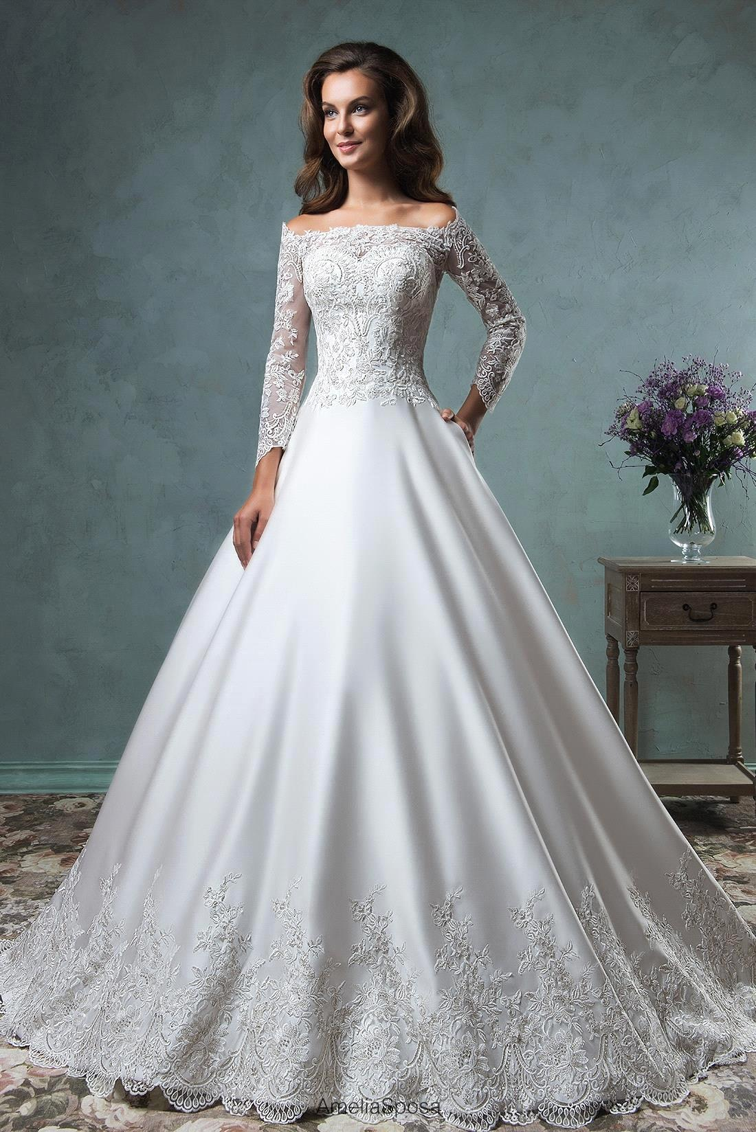 Vestido de noiva elegant boat neck ball gown wedding for Long sleeve ball gown wedding dress