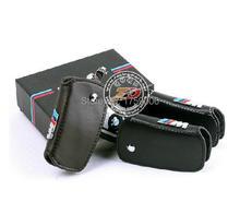 M logo black leather car key case For bmw x1 x3 x4 x5 x6 116i 118i 320i 316i 325i 330i E90 F10 M1 M3 M5 F20 F30 530i(China (Mainland))