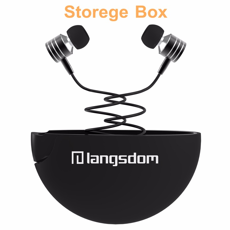 Langsdom i-7a Metal In-Ear Earphones with Free Storage Box Bass Headset Audifonos Music Earphone volume control Fone De Ouvido