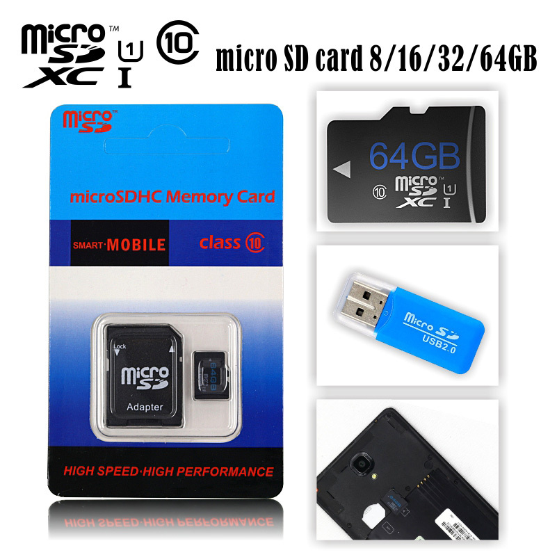 HOT Selling 4GB 8GB 16GB 32GB Micro SD Card 64GB Class 10 Memory Cards Flash Cards Micro SDHC SDXC Microsd USB Reader Package(China (Mainland))
