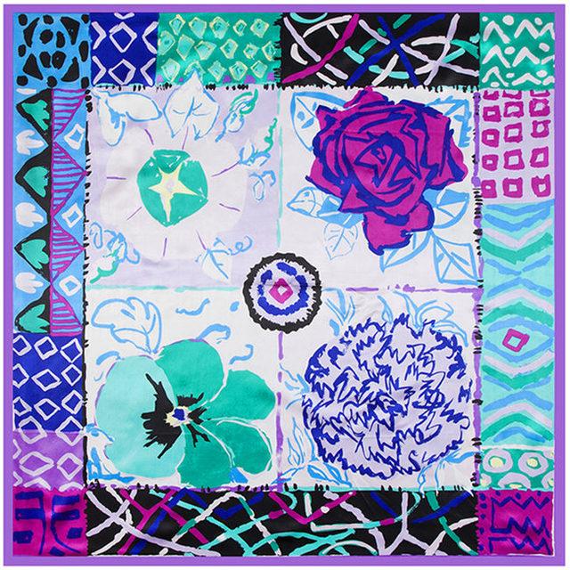 90 см * 90 см AliExpress горячая распродажа шарф 2016 весна чернил импрессионистов цветочный шарфы