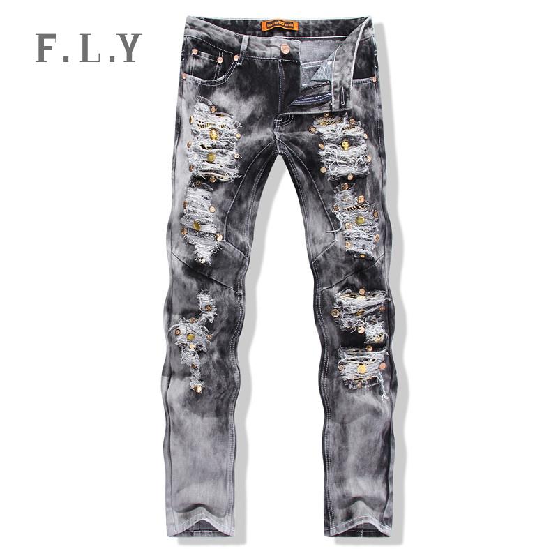 HOT fashion 2015 new famous true men masculina biker skinny ripped distressed skull hloe vintage sequined denim jeans menMYA0036(China (Mainland))