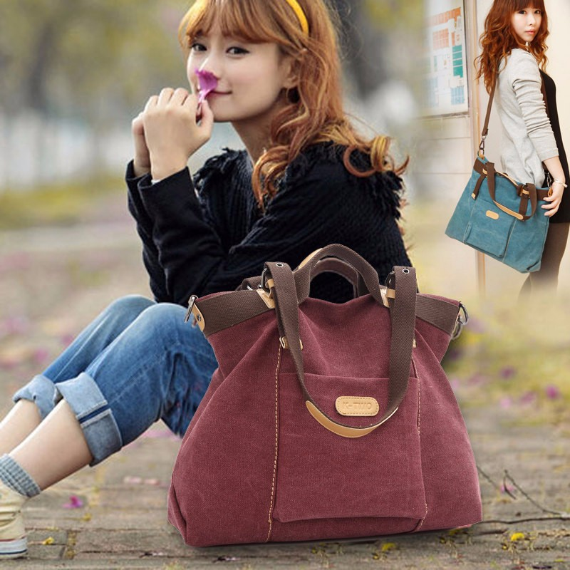 Casual Canvas Bag Women Stylish Simple Handbag Large Capacity Multifunctional Hobo Bag Ladies Fashion Soft Simple Shoulder Bag