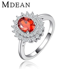 Vintage Rings For Women party red CZ diamond White gold plated ruby engagement jewelry for women Free shipping MSR117