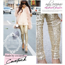 2014 new Arrival Women gold sequins leggings pants big yards entire Europe and America fashion Slim was thin pants