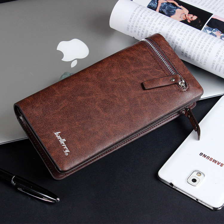 Baellerry Brand New Men Wallet Genuine Leather Mobile Pouch Designs Men Purse With Card Holder Long