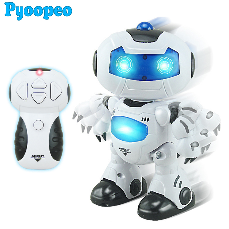 Pyoopeo Children Action Learning & educational toys lighting music remote dancing robots automatic demonstration RC Robot Toys(China (Mainland))