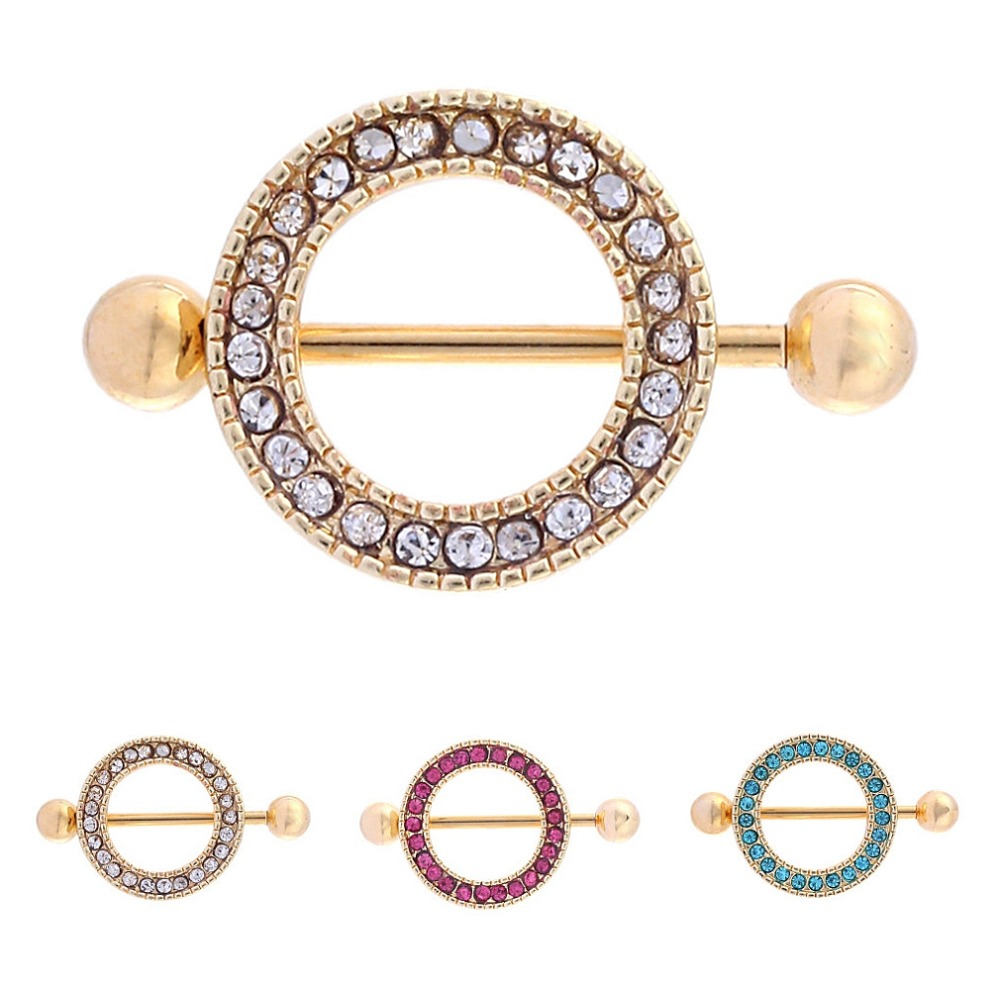 2pcs steel sexy toy nipple barbells gold bar with round for Pierced nipple stretching jewelry