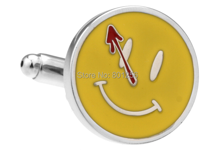 Free shipping Men Accessories 3pairs/lot yellow color novelty smile face design copper material men cufflinks whoelsale&retail(China (Mainland))