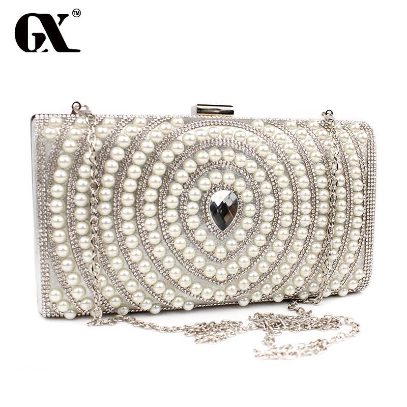GX Woman Evening Bag Women Pearl Rhinestone Clutches Crystal Clutch Wallet Wedding Purse Party Banquet Black/Gold/Silver gift(China (Mainland))