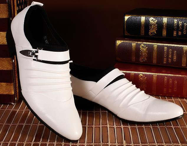 White Men Dress Shoes Designers Business Shoes Men Casual Leather Oxfords Fashion Pointed Toe Male Shoes Gentleman Oxford RM-304(China (Mainland))