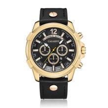 Cagarny marca gran Dial hombres relojes multifunción tira de acero de negocio reloj regalo de los hombres Relogio Masculino Montre Homme(China)